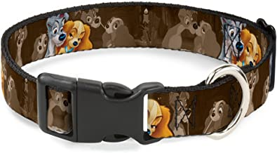 Buckle-Down PC-WDY372-L Plastic Clip Collar-Lady and Tramp 2-Poses/Spaghetti Kiss Scene Browns, 1