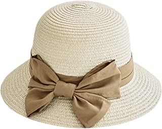 Snday88 Sun Hats for Women Bow Straw Hat Summer Beach Fisherman Cap ,Moisture Wicking Fabric, UV Protection