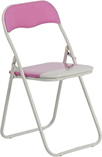 Harbour Housewares Silla de Escritorio Plegable - con Acolchado Rosa/Blanco