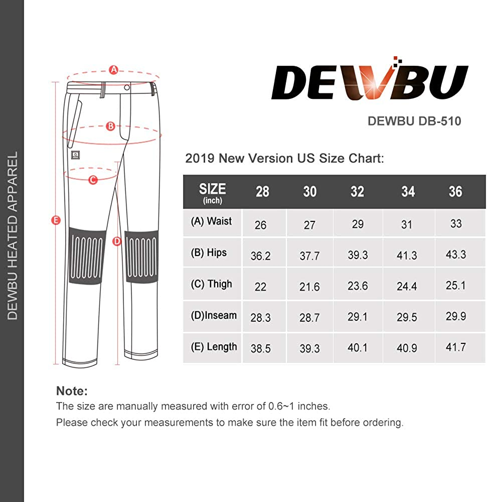 DEWBU Heated Pants with 7.4V Battery Pack Fleece Lined Outdoor Softshell Pants Electric Heating Trousers
