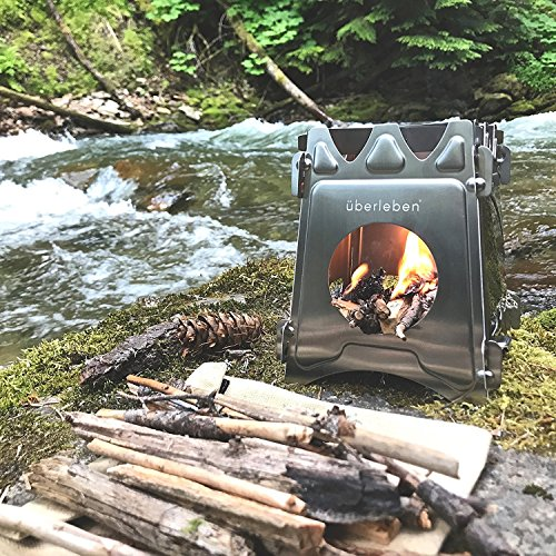 Product Image 1: Überleben Stoker Flatpack Stove | Twig, Stick, or Wood Burning | Compact & Collapsible | 304 Stainless Steel | Emergency Bushcraft Survival, Camping or Backpacking | Waxed Canvas Sleeve