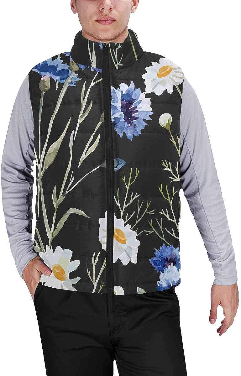 InterestPrint Winter Lightweight Personality Design Padded Vest for Men Corals Blue