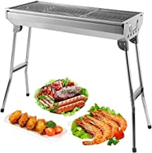 AGM Charcoal Barbecue, 680x320x730 mm | Large Foldable BBQ Grill | Thick Stainless Steel | for Picnic, Travel, Garden, Cam...