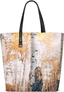 FANTAZIO Schultertasche für Damen, Herbstwald, Birkenoptik