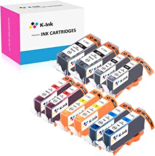 K-Ink Compatible Ink Cartridge Replacement for Canon PGI-220 PGI 220 CLI-221 CLI 221 (10 Pack - 2 Large Black, 2 Small Black, 2 Cyan, 2 Magenta, 2 Yellow)