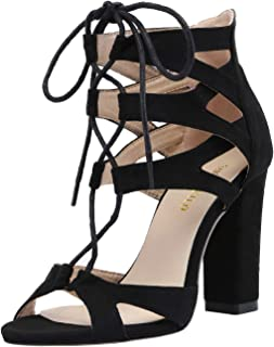 SHOESFEILD Chunky Block Heels for Women, Open Toe High Heels Fashion Lace Up Strappy Sandals