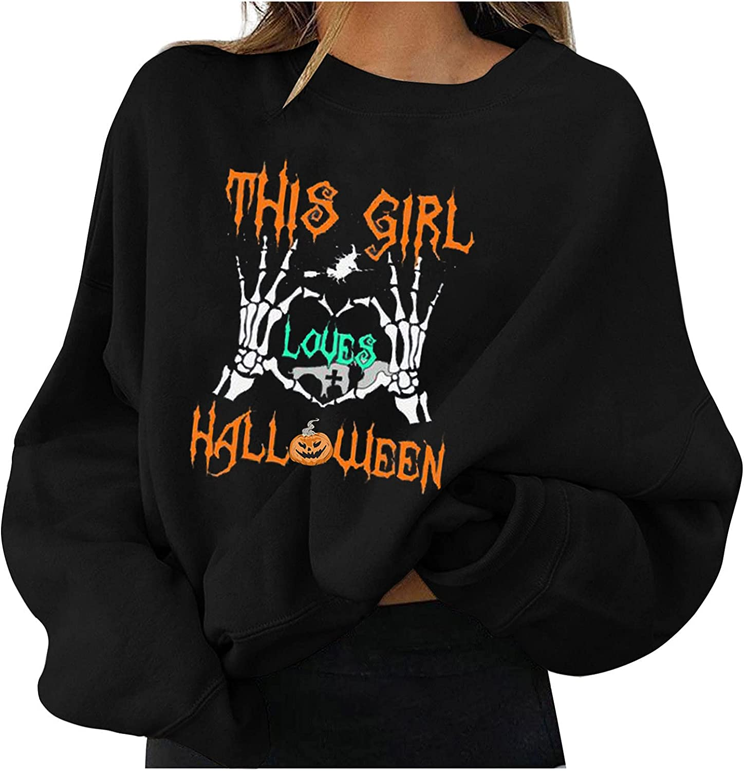 Jaqqra Halloween Sweatshirt for Women, Womens Long Sleeve Tops Skull Letter Print Casual Loose Pullover Shirts Blouse