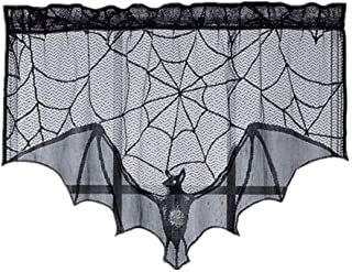 🍀Libobo🍀Black Spiderweb Fireplace Mantle Scarf Cover Tablecloth Halloween Party Decor