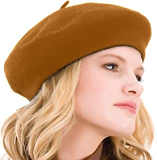 5adcea14fbec2 Kimming Womens Beret 100% Wool French Beret Solid Color Beanie Cap Hat