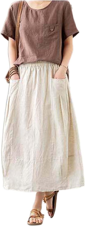 Uaneo Womens Summer Cotton Linen High Waist Casual A-Line Long Maxi Skirt with Pockets (Beige-XS)