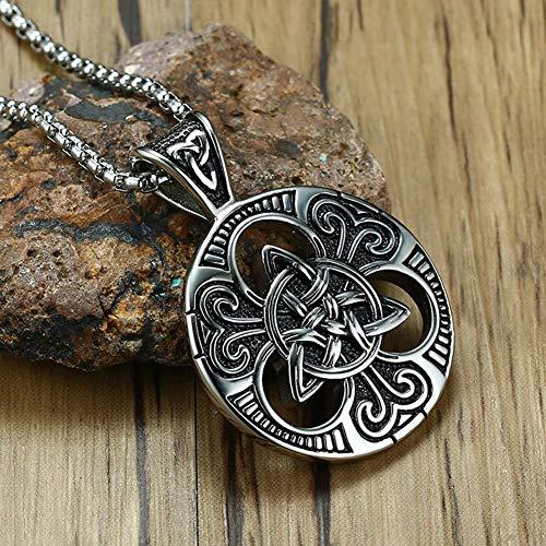 Herren Wikinger Halskette, Edelstahl Celtic Knot Rune Wikinger Anhänger Amulett, Unisex Frieden und Harmonie Schmuck mit 60CM Quadrat Perlenkette