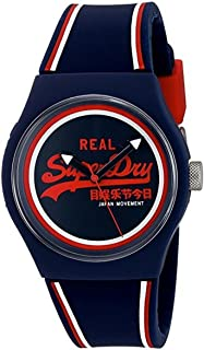 Superdry 'Urban Retro' Quartz Plastic and Silicone Dress Watch, Color:Blue (Model: SYG198UR)
