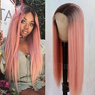 QD-Tizer Long Straight Hair Pink Color Wig Ombre Brown Glueless Heat Resistant Synthetic Lace Front Wigs for Fashion Women