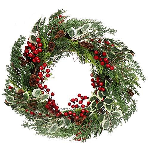 com-four® Corona de Puerta de Navidad - Corona de Adviento con piñas, Bayas y Hojas - Corona Decorativa - Decoración navideña - Corona de Mesa - Corona de Navidad - Ø 60 cm