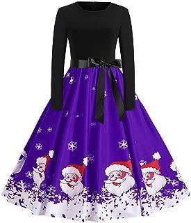 Rakkiss Women Christmas/Halloween Dresses, Ladies Long Sleeve Printed Tunic Dress Casual Button Down Midi Dress with Pocket