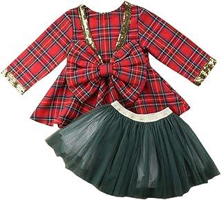 Carolilly - Vestido de Navidad para bebé o niña, manga larga a cuadros, con tutú y falda verde, conjunto de lentejuelas co...