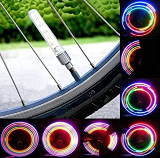 Liroyal 2 x Bicycle Bike Wheel Tire Valve Cap Spoke Neon 5 LED Flash Lights Lamp