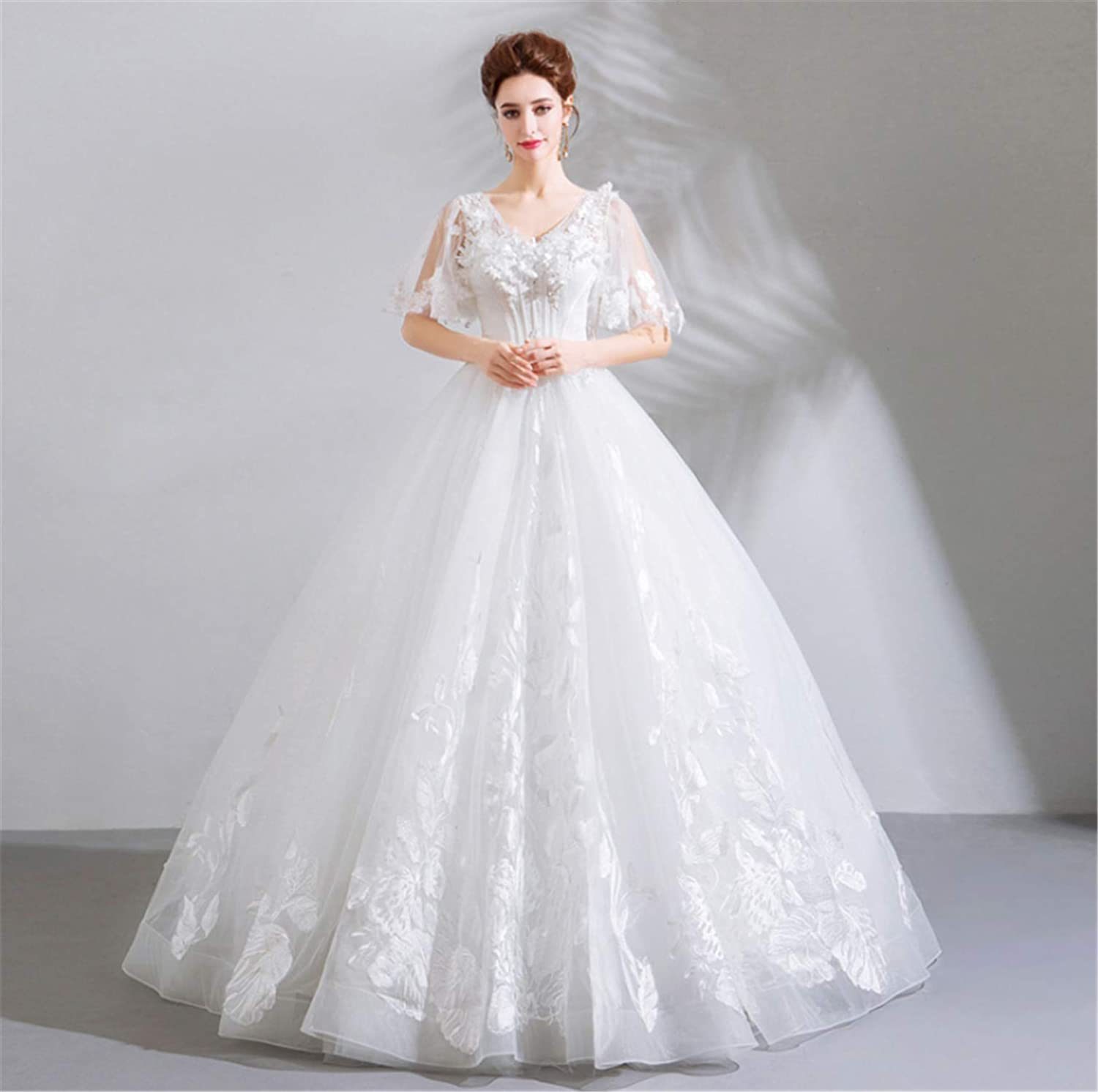 Wedding Dress,Simple Stylish Ladies Round Petticoat Wedding Dress with Lace with Sleeves Perfect Princess White