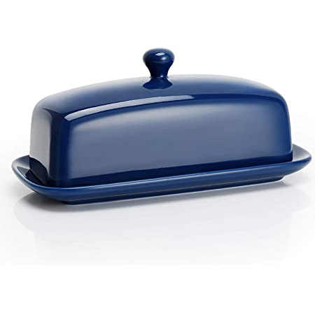 Creative Co-Op DA9482 Dark Blue Whale Shaped Butter Dish with Lid