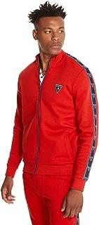 Men's Leo Logo-Tape Zip-Up Mock-Neck Athletic Jacket