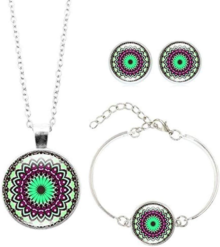Iumer Mandalas Gem Jewelry Set Necklace Earring Bangle Set Purple Green