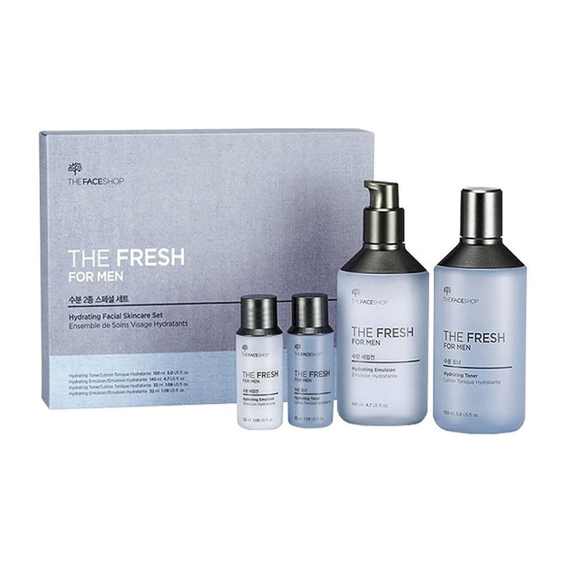 チョコレート規範レンディションザ?フェイスショップ ザ?フレッシュフォーマン?ハイドレーティング?フェイシャルスキンケアセットトナー(150+32ml)エマルジョン(140+32ml)メンズコスメ、The Face Shop The Fresh For Man Hydrating Facial Skincare Set Toner(150+32ml) Emulsion(140+32ml) Men's Cosmetis [並行輸入品]