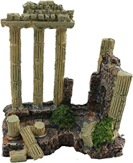 EHC Resin Solid Vintage Roman Column Aquarium Decorations Fish Tank Rock Ruins Plants Decor Aquarium Decoration Ornaments
