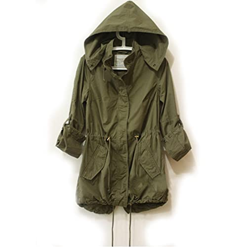 Easy Leisure Girl Army Green Military Parka Button Trench Hooded Coat Jacket ee521a663268