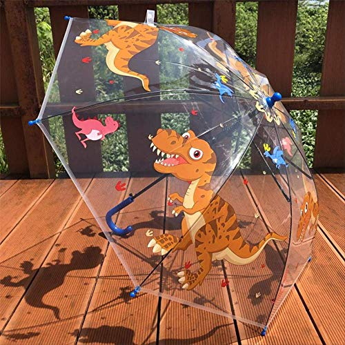 Paraguas transparente de dinosaurios para niños con mango largo para guardería
