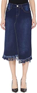 GoModest Womens Midi Fringe Denim Jean Skirt Tznius Casual Knee Length Plus Size