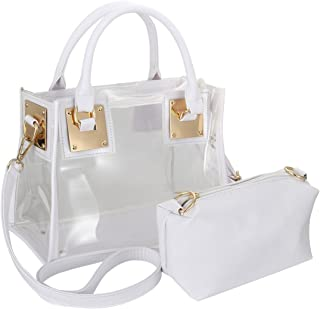 ZOZOE Fashion Women Clear Transparent Handbag PVC Jelly Candy Beach Tote Ladie Shoulder Bag Top Handle Purse with Chain Cross Body Bag Set
