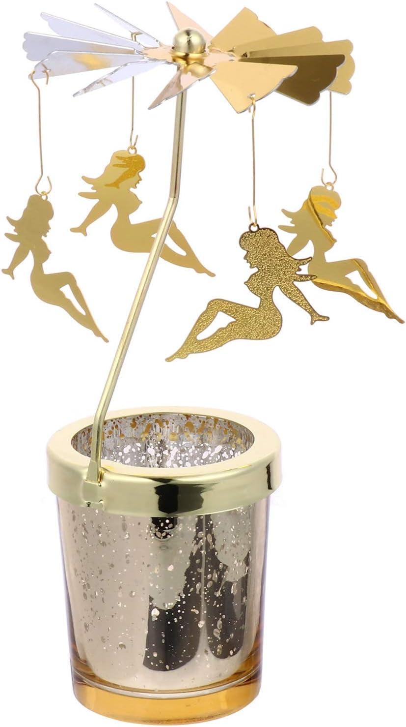SOLUSTRE Portavelas de té de cristal, diseño de carrusel de Navidad, color dorado sexy, con mujer giratoria, portavelas de cristal, regalo para boda, decoración de mesa
