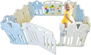 Baby Playpen Kids Activity Center - 14 Panel | Safety Play Yard Area - Indoor, Outdoor Portable Fence | Adjustable, Non-Toxic, Multi-Color Home Play Zone | Lock System Gate Door | Kid, Child, Infant