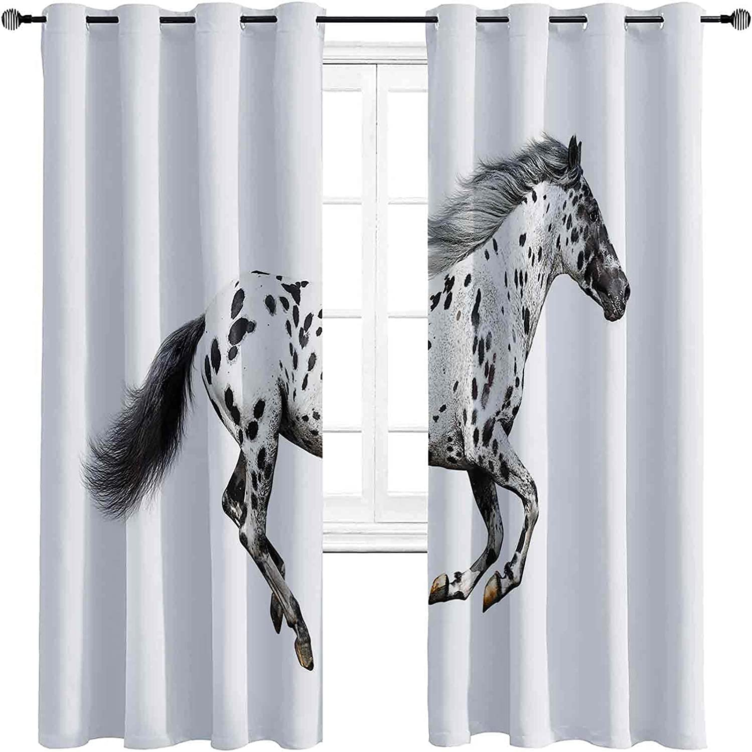 Horse Decor Max 51% OFF Room Darkened Insulation Curtain A Sales Grommet Powerful