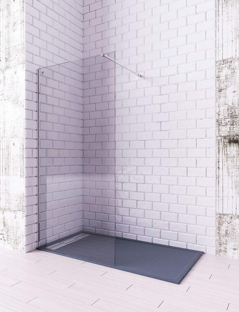 Modelo ARCOIRIS - Mampara de ducha de 1 hoja fija - Cristal Templado de 6 mm con ANTICAL INCLUIDO (80 cm): Amazon.es: Bricolaje y herramientas