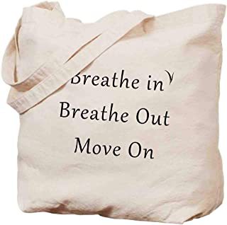 Breathe in Breathe Out Move On,inspirational quotes - canvas cloth shopping bag,environmentally friendly,reusable,Size -14x17inch