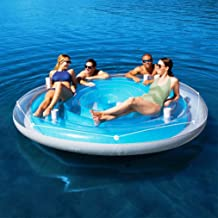 Bestway 4 Person Cooler Z Blue Caribbean Floating Island Inflatable in Water with Cooler & Cup Holders