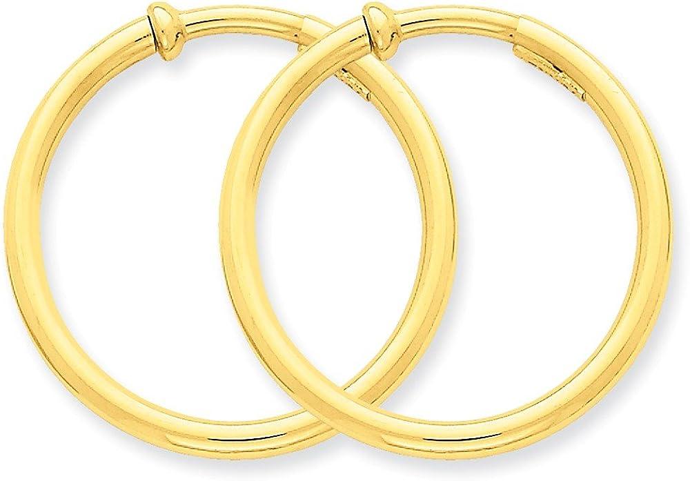 14k Non-Pierced Hoops Earrings, 14 kt Yellow Gold