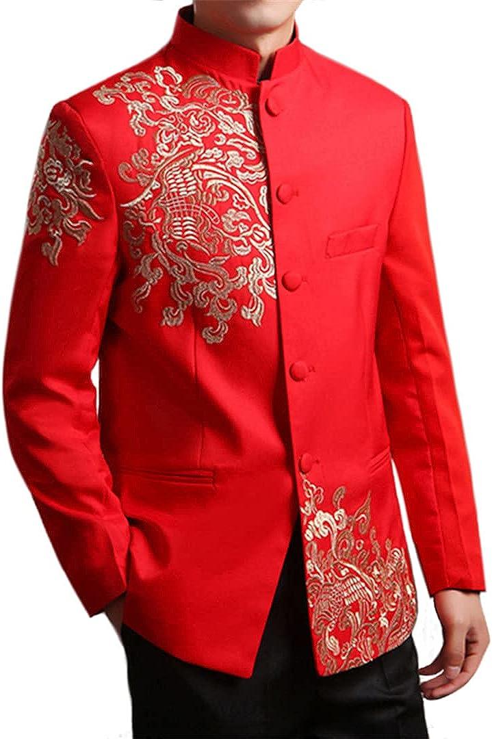 EGFIOKMJHT Chinese Style Wedding Jacket Men Embroidery Patterns Tunic Suit Jacket Mandarin Stand Collar Red White