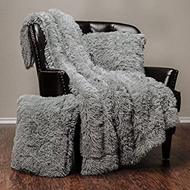 Chanasya 3-Piece Super Soft Shaggy Throw Blanket Pillow Cover Set - Chic Fuzzy Faux Fur Elegant Cozy Fleece Sherpa Throw (50 x65 ) & Two Throw Pillow Covers (18 x 18 )- For Bed Couch Chair Sofa - Grey