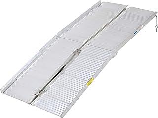 HOMCOM Portable Textured Aluminum Folding Wheelchair Threshold Ramp, 6`