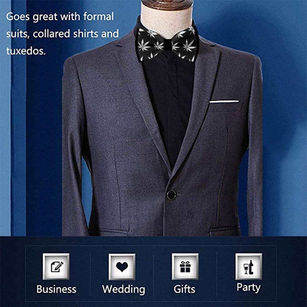 Adults & Children Bow Tie Fashion Pattern Bow Ties marijuana weed Cannabis leaves (102)9 Novel Bow Ties Handmade Necktie for Wedding Gift Idea For Men And Boys