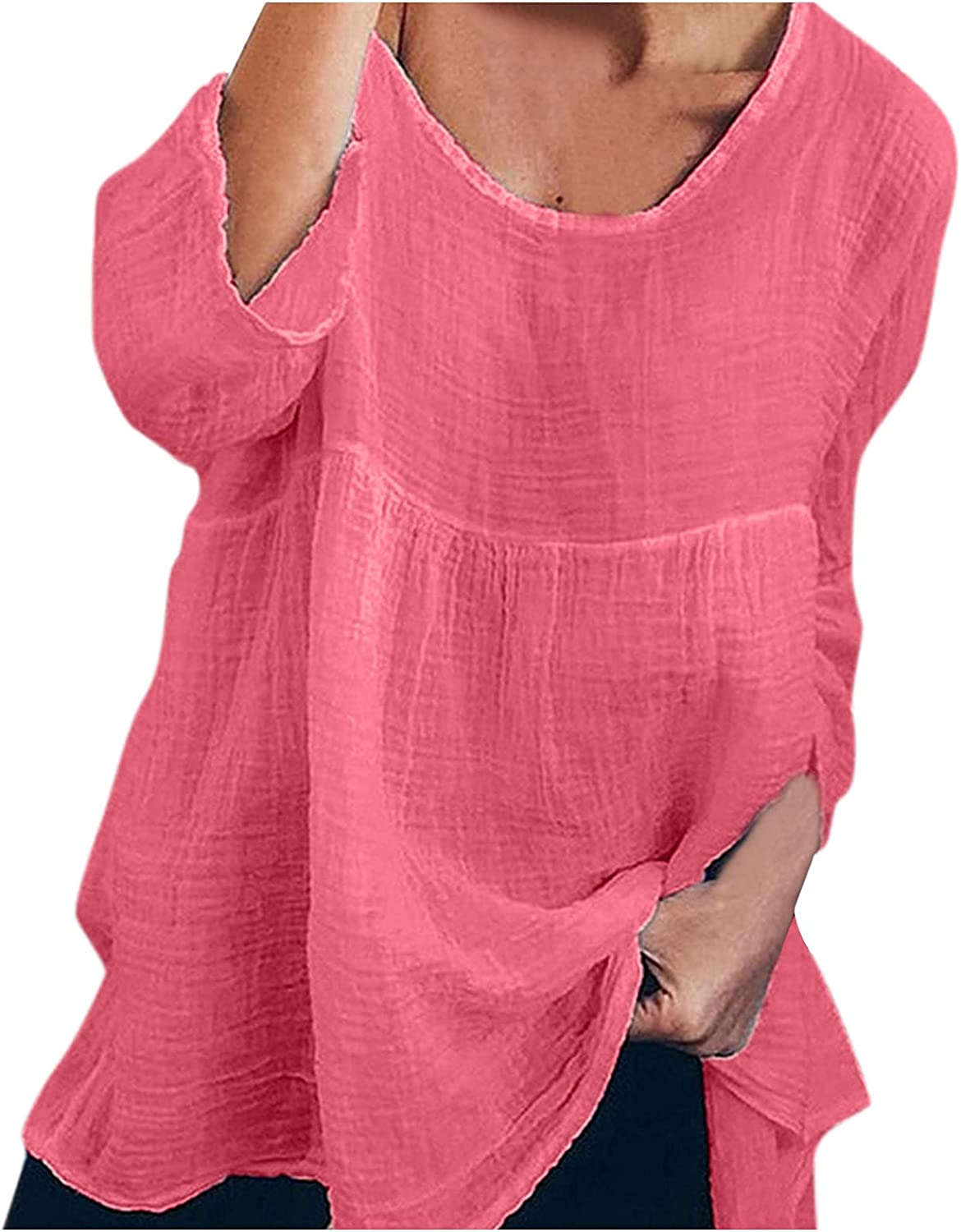 Women's Plus Size 3/4 Sleeve Tees Cotton Linen Tops Loose Solid Color Casual Shirt Boatneck Comfortable Tunic Blouses