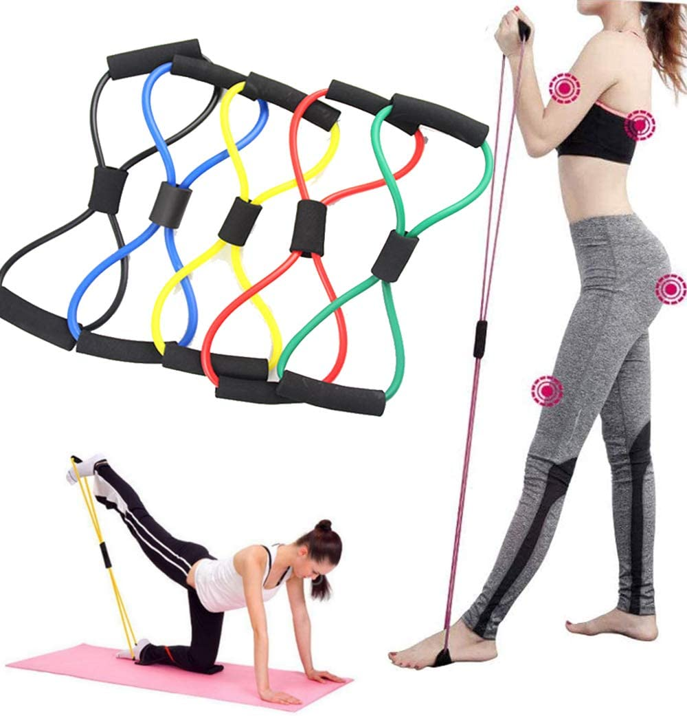 Yoga Resistance Bands Exercise 8 Word Loop Elastic Band Fitness Workout Gym 1 Pc