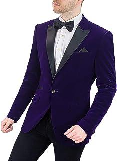 Men's Rosa Lilac Slim Fit Vintage Velvet Tuxedo Blazer Jacket with Contrast Sheen Lapel