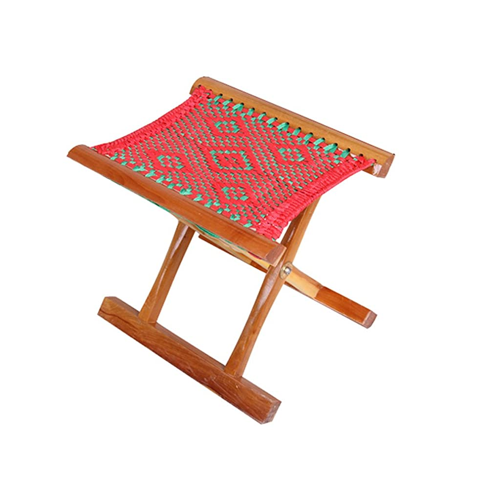 TIAN Stool Folding Stool, Hand-Stitched Fishing Stool Folding Chair Solid Wood Stool, Simple Casual Stool Chair (33 26 32CM) Strong and Sturdy