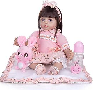 19 cali 48 cm brązowe oczy Reborn Baby miękkiego silikonu z ciałem z tkaniny realistyczna lalka realistyczna lalka zabawka...