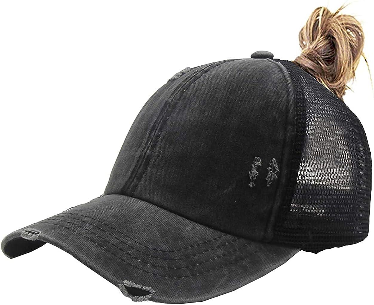 Ponytail Hat for Womens, Adjustable Vintage Trucker Washed Denim Dad Baseball Cap