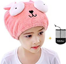 Hair Drying Towel for Kids Girls, Cute Cartoon Rabbit Ultra Absorbent Coral Velvet Children Dry Hair Hat Fast Drying Bath ...