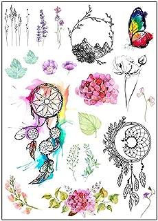 BESTPICKS Large Waterproof Fashion Temporary Tattoo Sticker - MOON, BUTTERFLY, FLOWER, LEAF, MOUNTAIN - 14.5 X 21 cm Sheet